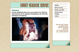 screenshot of Surrey Headache Service website