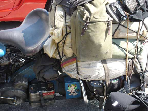 baggage tied onto motorcycle