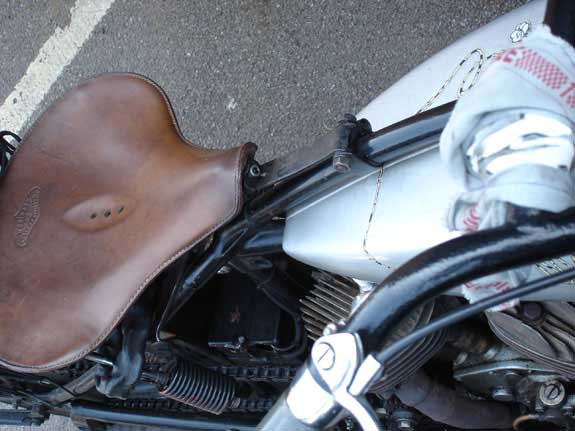 leather seat on Indian motorcycle
