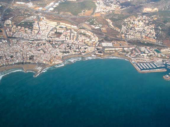 Spanish Coast near Barcelona from plane