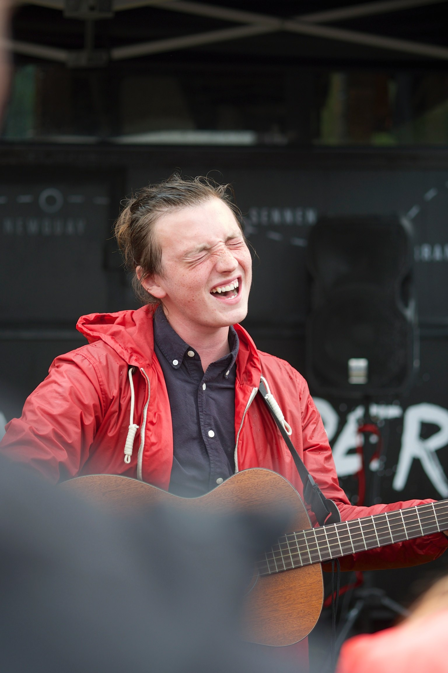 Lewis Watson outside the O'Neill bus at Somersault Festival 15